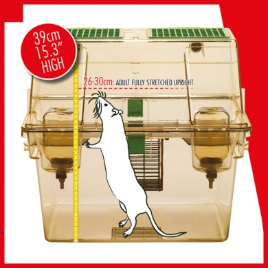 The use of double-decker cages lets rat telemetry studies allowing socially housed rats to exhibit periods of full upright posture known to be an integral and important part of a rat's welfare.