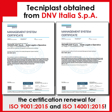 Tecniplast obtained from DNV Italia S.p.A., a global organization specialized in independent assurance, inspection and certification activities, the certification renewal for ISO 9001:2015 and ISO 14001:2015: a special commitment for our Customers!