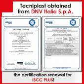 Tecniplast obtained the renewal of the ISCC Plus Certificate by DNV, another step to create a better world.