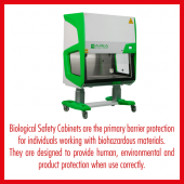 Major international standards for Biological Safety Cabinets: AS 2252; EN12469; NSF49