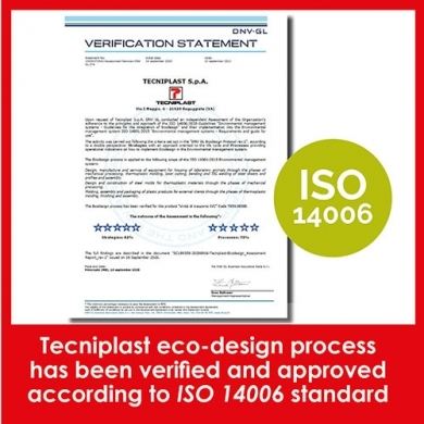 Tecniplast reduces the environmental impact of products and services for a greener planet. TP eco-design process has been approved according to ISO 14006 standard