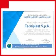Tecniplast is once again verified and approved according to the ISO 14006 STANDARD, and obtains the Environmental and Social Sustainability Award 2021!